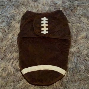 Football Velcro swaddle. Use once or twice